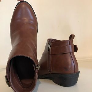 Forever 21 Shoes - Brown Leather Forever21 Buckle Booties